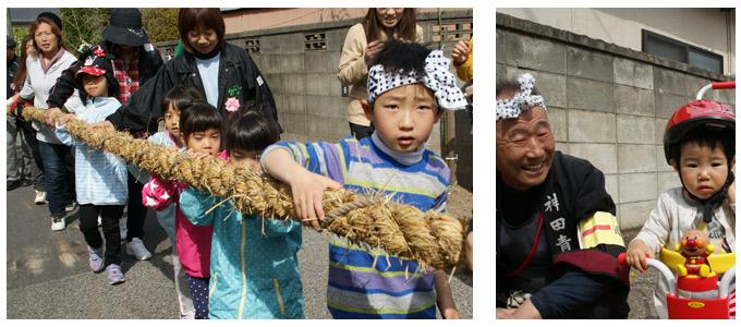 建立祭、子供も御柱を曳く