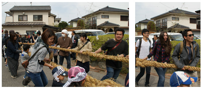 建立祭 外国人も御柱を曳く