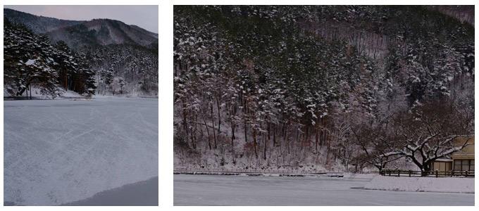 雪景色の千鹿頭池