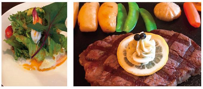 ステーキとサラダ