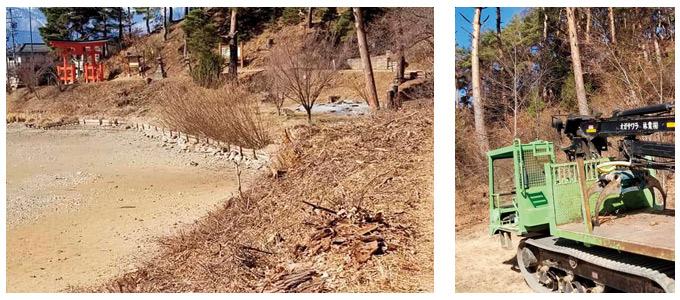 千鹿頭池遊歩道枯木除去作業