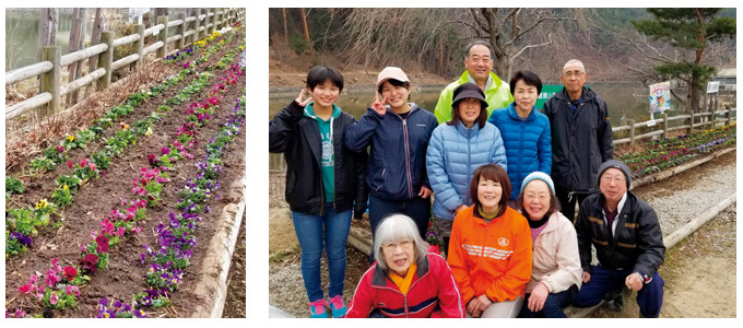 花壇の花植え作業の参加者たち
